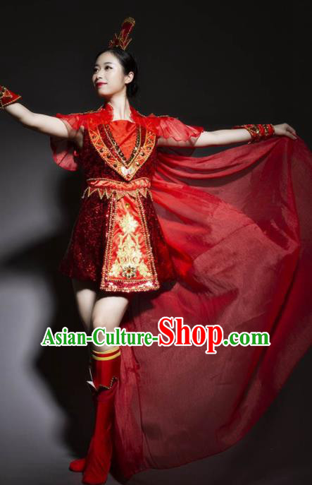 Chinese Traditional Stage Performance Costume Folk Dance Drum Dance Red Dress for Women