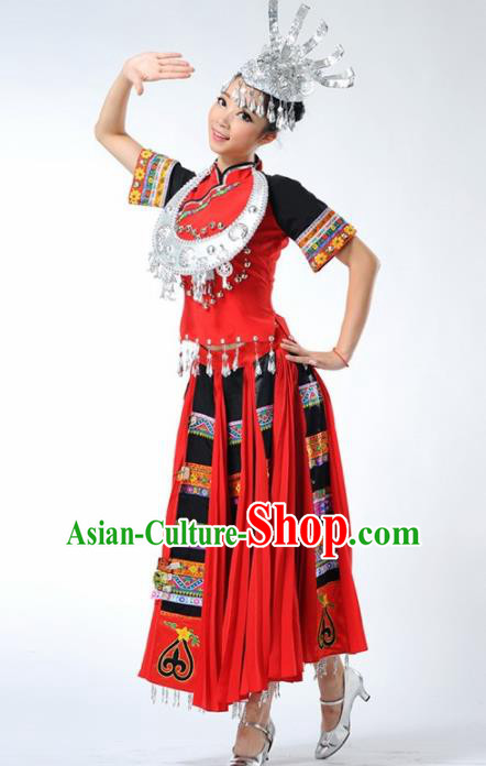 Chinese Traditional Miao Nationality Ethnic Dance Costume Minority Folk Dance Red Dress for Women