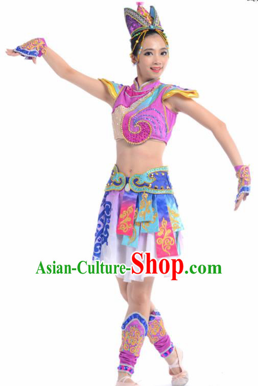 Chinese Traditional Mongol Nationality Ethnic Dance Purple Costume Minority Folk Dance Dress for Women