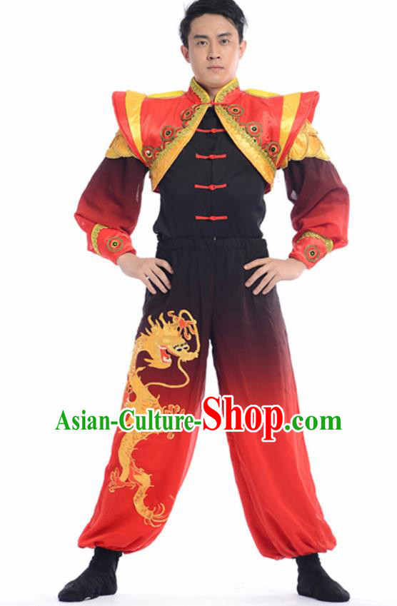 Chinese Traditional Yangko Stage Performance Costume Folk Dance Drum Dance Clothing for Men
