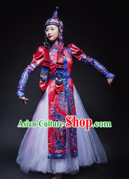Chinese Traditional Mongol Nationality Ethnic Dance Costume Minority Princess Folk Dance Red Dress for Women
