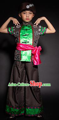 Chinese Dong Nationality Stage Performance Costume Traditional Ethnic Minority Black Clothing for Kids