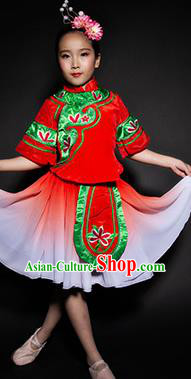 Chinese Folk Dance Yangko Stage Performance Red Costume Traditional Fan Dance Clothing for Kids