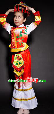 Chinese Maonan Nationality Stage Performance Costume Traditional Ethnic Minority Red Clothing for Kids