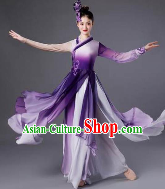 Chinese Classical Dance Purple Dress Traditional Umbrella Dance Lotus Dance Stage Performance Costume for Women