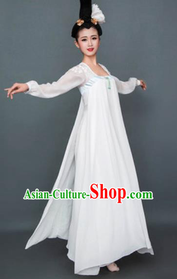Chinese Classical Dance White Hanfu Dress Traditional Umbrella Dance Lotus Dance Stage Performance Costume for Women