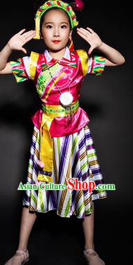 Chinese Nu Nationality Stage Performance Costume Traditional Ethnic Minority Clothing for Kids