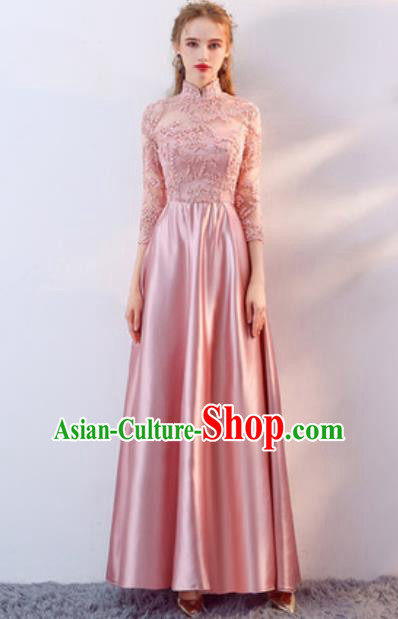 Top Grade Compere Stage Performance Pink Lace Full Dress Modern Fancywork Modern Dance Costume for Women