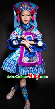 Chinese Bouyei Nationality Stage Performance Costume Traditional Ethnic Minority Blue Clothing for Kids