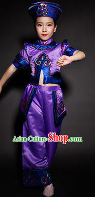 Chinese Daur Nationality Stage Performance Costume Traditional Ethnic Minority Purple Clothing for Kids