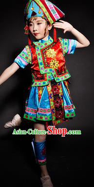 Chinese Kelao Nationality Stage Performance Costume Traditional Ethnic Minority Clothing for Kids