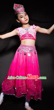 Chinese Uyghur Nationality Stage Performance Costume Traditional Ethnic Minority Rosy Clothing for Kids