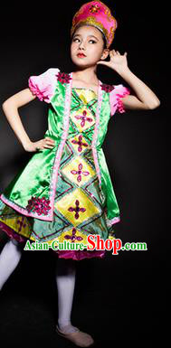 Russia Stage Performance Costume Traditional Folk Dance Green Dress for Kids