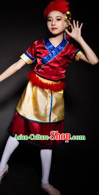 Chinese Moinba Nationality Ethnic Stage Performance Costume Traditional Minority Folk Dance Clothing for Kids