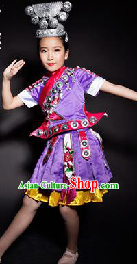 Chinese Miao Nationality Ethnic Stage Performance Purple Costume Traditional Minority Folk Dance Clothing for Kids