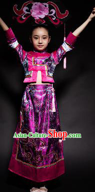 Chinese Manchu Nationality Ethnic Stage Performance Costume Traditional Minority Folk Dance Clothing for Kids
