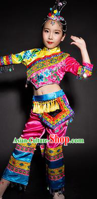 Chinese She Nationality Ethnic Stage Performance Costume Traditional Minority Folk Dance Clothing for Kids