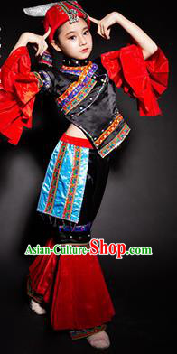 Chinese Mulao Nationality Ethnic Stage Performance Costume Traditional Minority Folk Dance Clothing for Kids