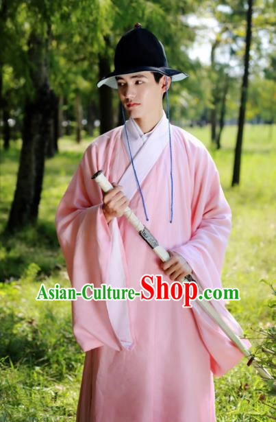 Traditional Chinese Ming Dynasty Historical Costume Ancient Taoist Priest Pink Robe for Men