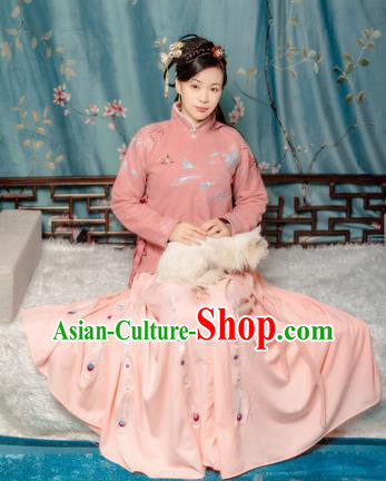 Traditional Chinese Ming Dynasty Winter Historical Costume Ancient Young Mistress Embroidered Clothing for Women