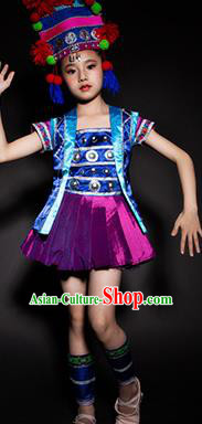 Chinese Hani Nationality Ethnic Stage Performance Costume Traditional Minority Folk Dance Clothing for Kids
