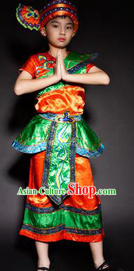 Chinese Dai Nationality Ethnic Stage Performance Costume Traditional Minority Folk Dance Clothing for Kids