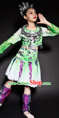 Chinese Miao Nationality Ethnic Green Costume Traditional Minority Folk Dance Stage Performance Clothing for Kids