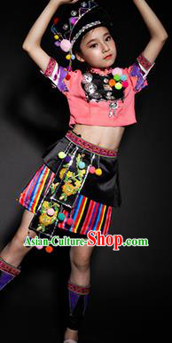 Chinese Achang Nationality Ethnic Costume Traditional Minority Folk Dance Stage Performance Clothing for Kids