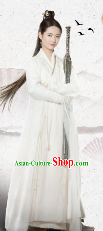 Drama Relying on Heaven to Slaughter Dragons Chinese Ancient Yuan Dynasty Princess Swordswoman Zhao Min Costume and Headpiece for Women