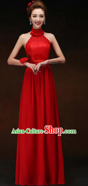 Top Grade Stage Performance Red Full Dress Compere Modern Fancywork Modern Dance Costume for Women