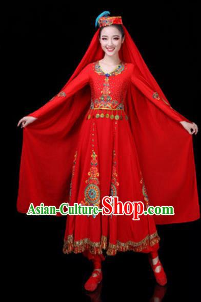 Traditional Chinese Minority Ethnic Dance Red Dress Uyghur Nationality Stage Performance Costume for Women