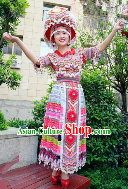 Traditional Chinese Minority Ethnic Folk Dance Embroidery Dress Miao Nationality Stage Performance Costume and Hat for Women
