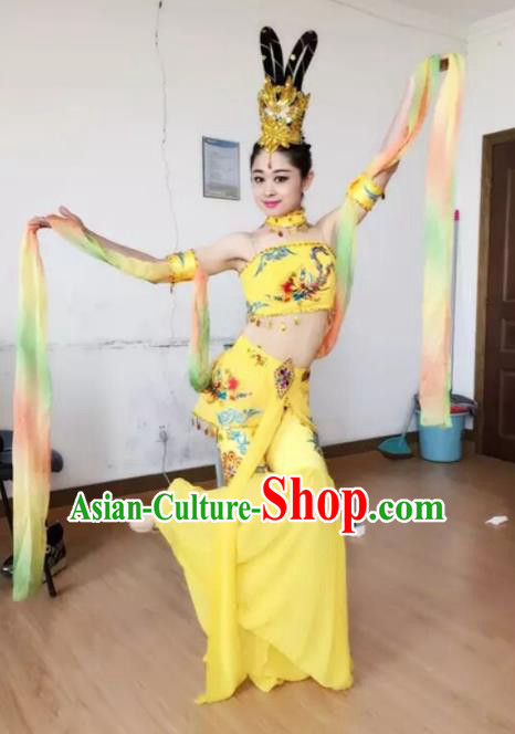 Chinese Traditional Classical Dance Yellow Dress Dunhuang Flying Apsaras Stage Performance Costume for Women