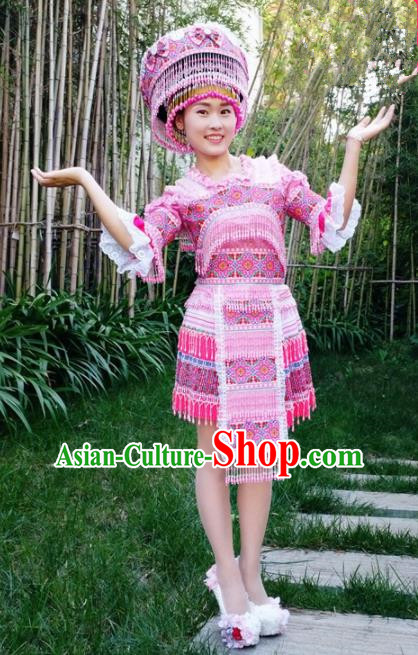 Chinese Traditional Miao Nationality Pink Beads Short Dress Minority Ethnic Folk Dance Costume for Women