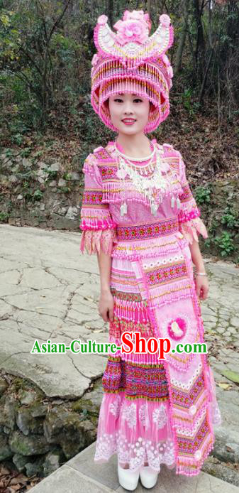 Traditional Chinese Miao Nationality Pink Dress Minority Ethnic Folk Dance Costume for Women