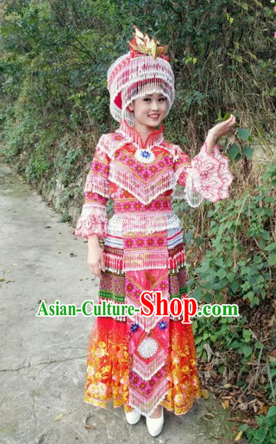 Traditional Chinese Miao Nationality Red Dress and Hat Minority Ethnic Folk Dance Costume for Women