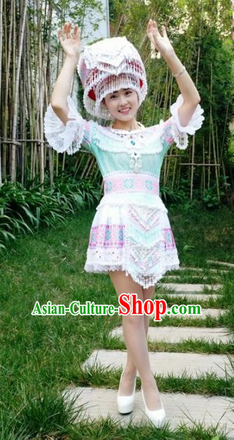 Traditional Chinese Miao Nationality Green Short Pleated Dress Minority Ethnic Folk Dance Costume for Women