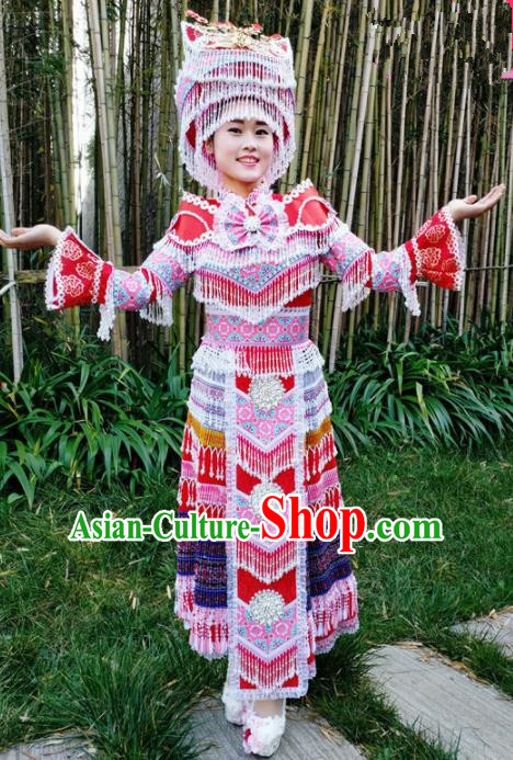 Traditional Chinese Miao Nationality Folk Dance Red Dress Minority Ethnic Wedding Stage Performance Costume for Women