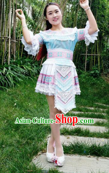 Traditional Chinese Miao Nationality Folk Dance Blue Short Dress Minority Ethnic Wedding Stage Performance Costume for Women
