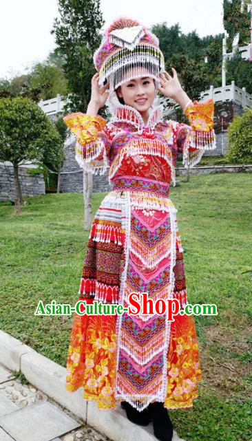 Traditional Chinese Miao Nationality Folk Dance Embroidered Red Dress Minority Ethnic Wedding Stage Performance Costume for Women