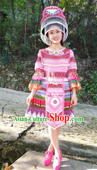 Chinese Traditional Miao Nationality Pink Short Dress Minority Ethnic Folk Dance Costume for Women