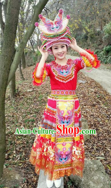 Traditional Chinese Miao Nationality Embroidered Red Dress Minority Ethnic Folk Dance Stage Performance Costume for Women