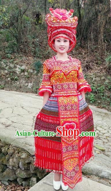 Traditional Chinese Minority Ethnic Folk Dance Embroidery Red Dress Miao Nationality Stage Performance Costume and Hat for Women