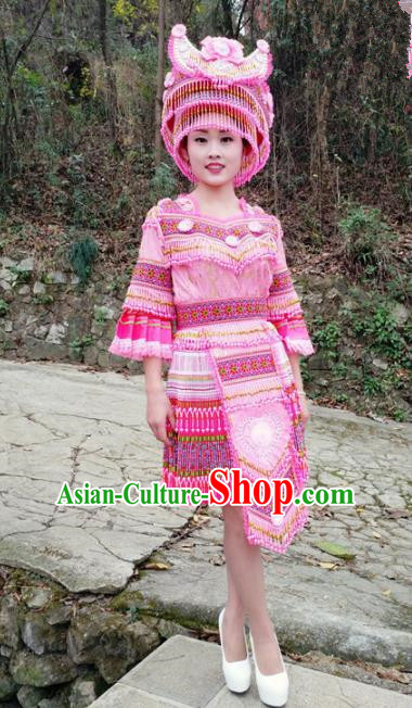 Traditional Chinese Miao Nationality Female Embroidered Pink Short Dress Minority Ethnic Folk Dance Stage Performance Costume for Women
