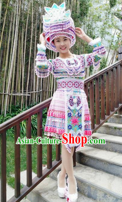 Traditional Chinese Miao Nationality Female Short Dress Minority Ethnic Folk Dance Stage Performance Costume and Hat for Women