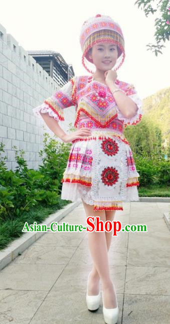 Traditional Chinese Miao Nationality Female Costume Minority Ethnic Folk Dance Stage Performance Short Dress and Hat for Women