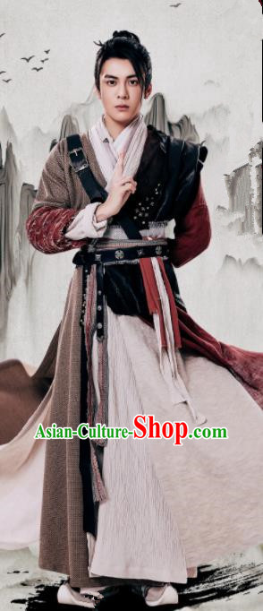 Chinese Ancient Yuan Dynasty Swordsman Zhang Wuji Relying on Heaven to Slaughter Dragons Historical Costume for Men