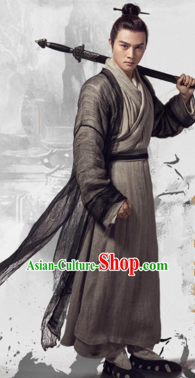 Heavenly Sword Dragon Slaying Saber Chinese Ancient Yuan Dynasty Swordsman Yu Lianzhou Historical Costume for Men