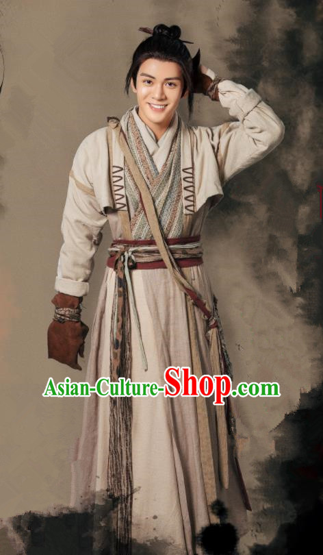 Chinese Ancient Drama Heavenly Sword Dragon Slaying Saber Swordsman Zhang Wuji Historical Costume for Men