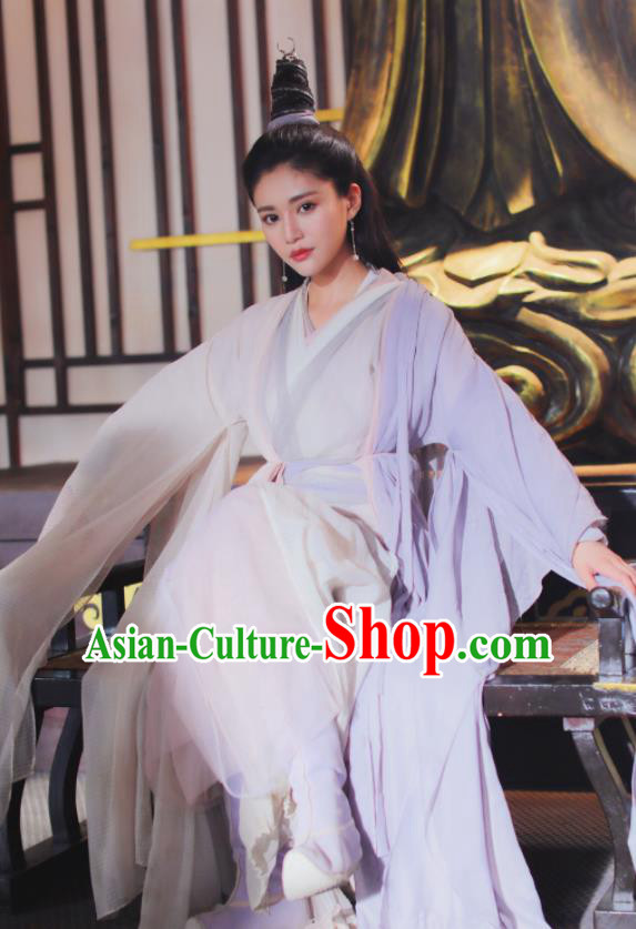 Relying on Heaven to Slaughter Dragons Chinese Ancient Swordswoman Taoist Nun Hanfu Dress and Headpiece for Women